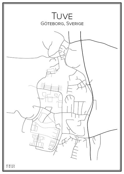 Stadskarta över Tuve