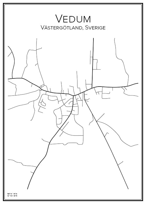 Stadskarta över Vedum