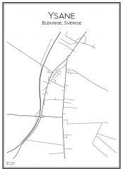 Stadskarta över Ysane