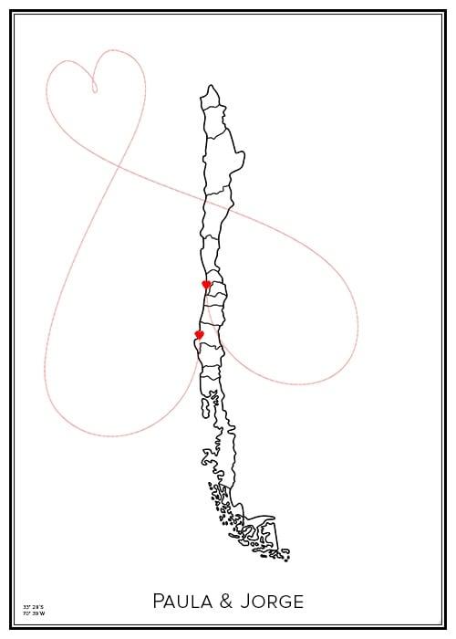 Karlekskarta över Chile