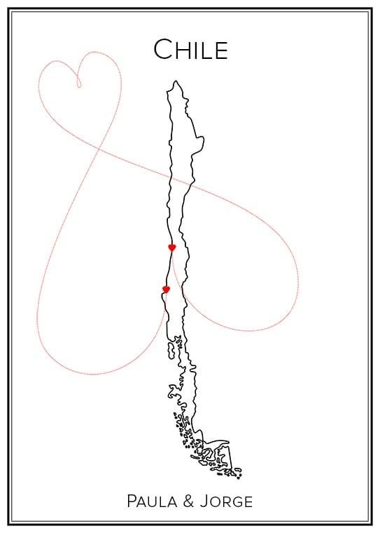 Chile - Kärlekskarta