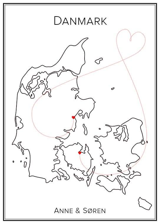 Kärlekskarta över Danmark