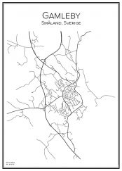 Stadskarta över Gamleby