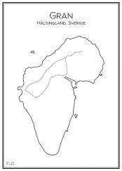 Stadskarta över ön Gran