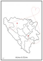 Karlekskarta över Bosnien
