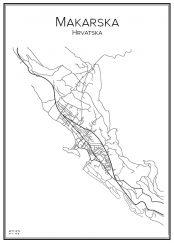 Stadskarta över Makarska