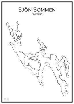 Stadskarta över sjön Sommen