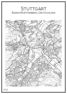Stadskarta över Stuttgart