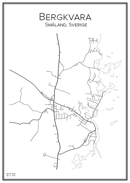 Stadskarta över Bergkvara