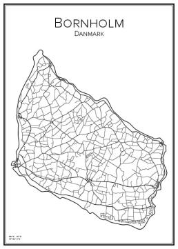 Stadskarta över Bornholm