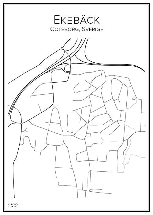 Stadskarta över Ekebäck