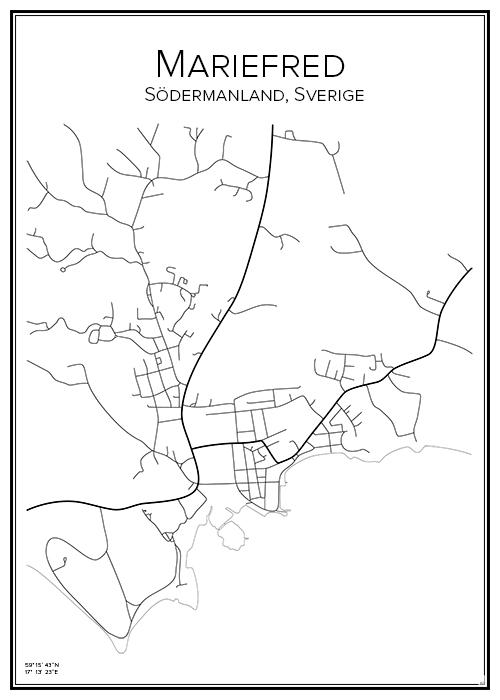 Stadskarta över Mariefred