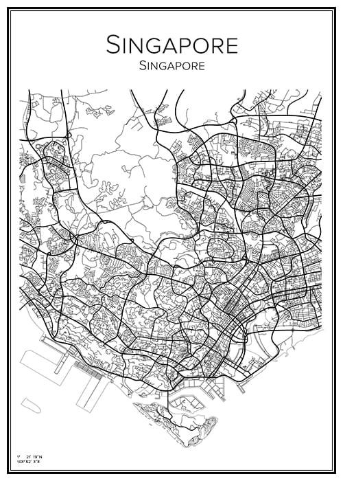 Stadskarta över Singapore