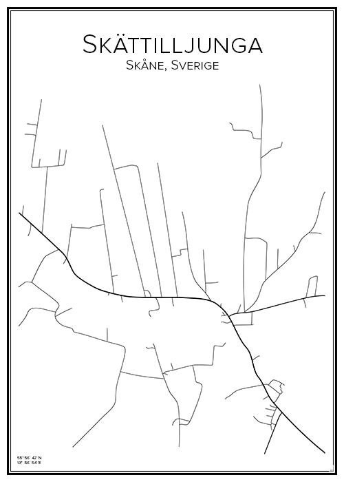 Stadskarta över Skättilljunga