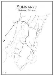 Stadskarta över Sunnaryd