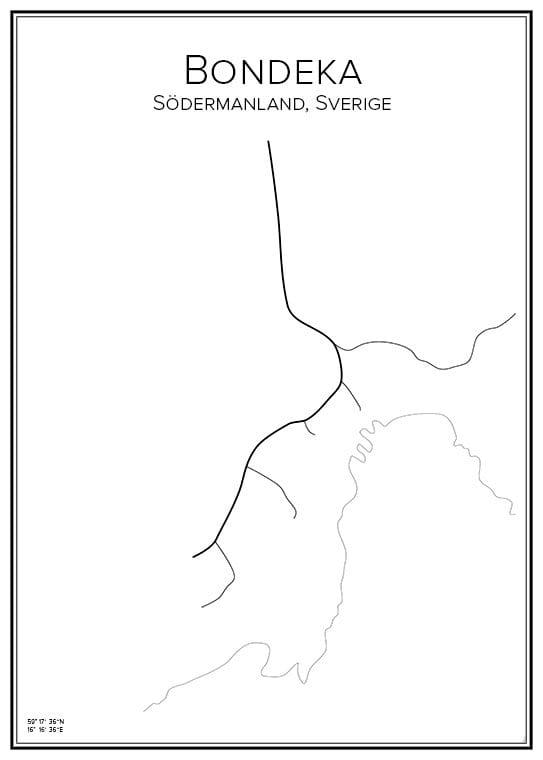Stadskarta över Bondeka