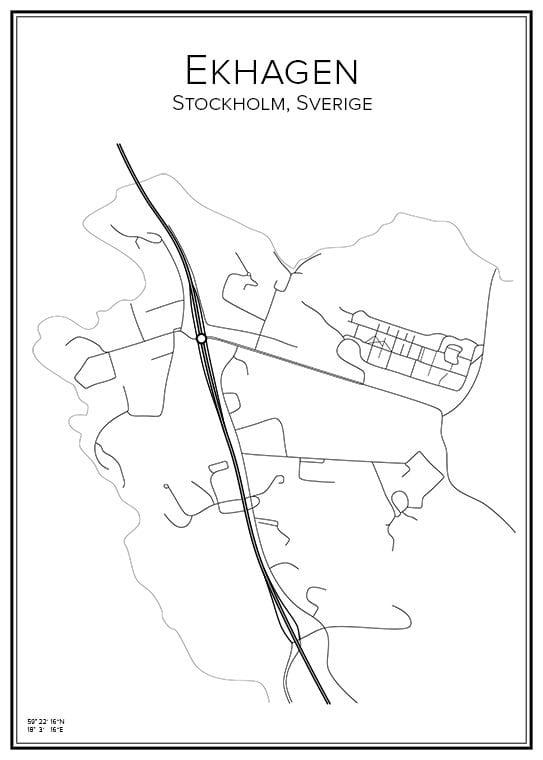 Stadskarta över Ekhagen