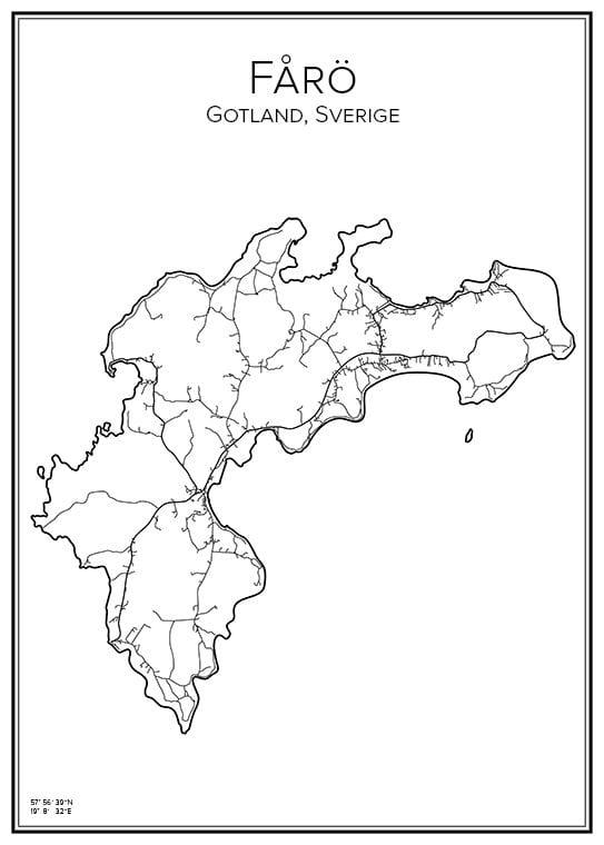 Stadskarta över Fårö, Gotland