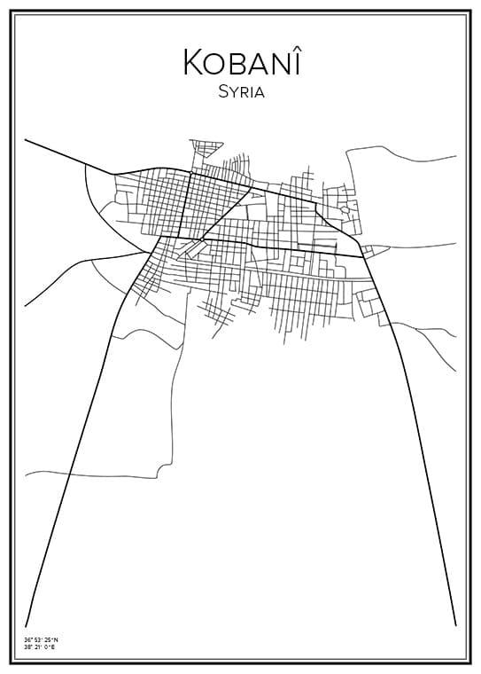 Stadskarta över Kobani