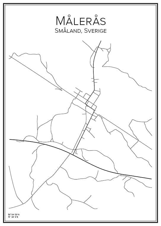 Stadskarta över Målerås