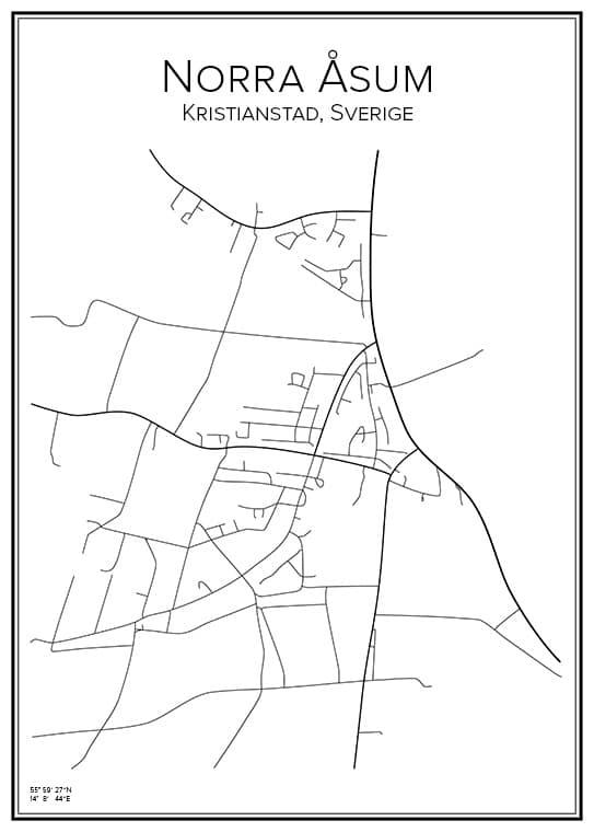 Stadskarta över Norra Åsum
