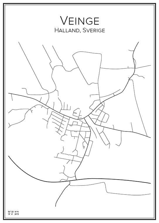 Stadskarta över Veinge