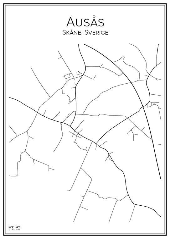 Stadskarta över Ausås