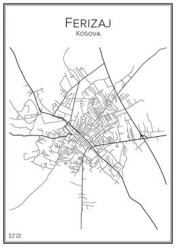 Stadskarta över Ferizaj