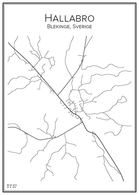 Stadskarta över Hallabro
