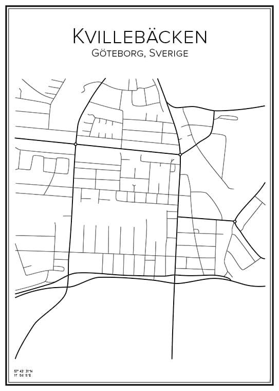 Stadskarta över Kvillebäcken