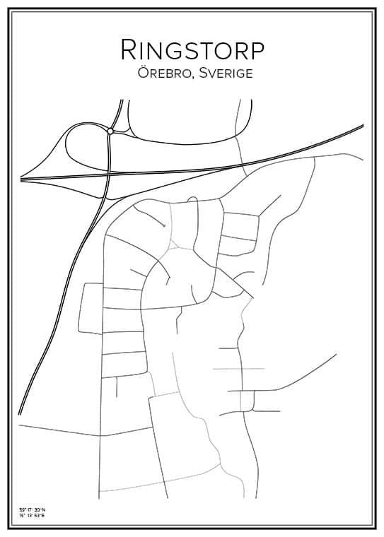 Stadskarta över Ringstorp i Örebro