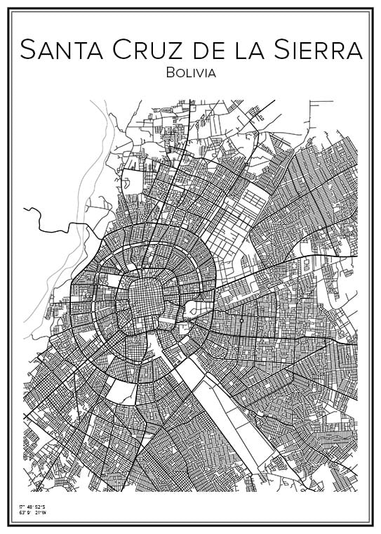 Stadskarta över Santa Cruz i Bolivia
