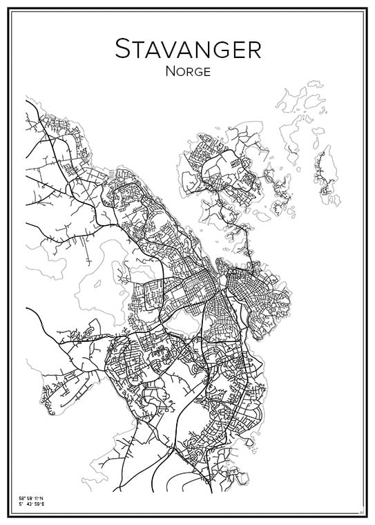 Stadskarta över Stavanger