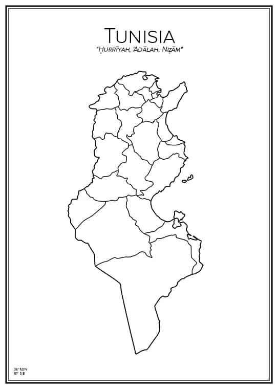 Stadskarta över Tunisien