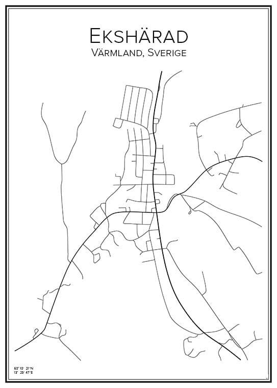 Stadskarta över Ekshärad