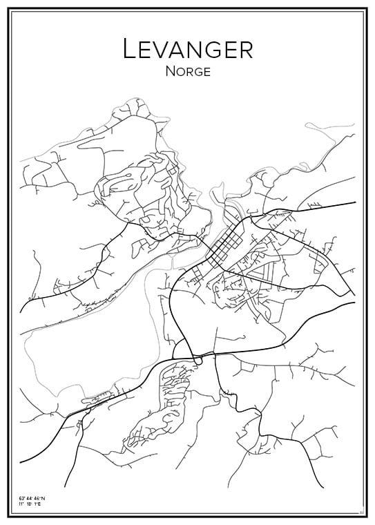 Stadskarta över Levanger