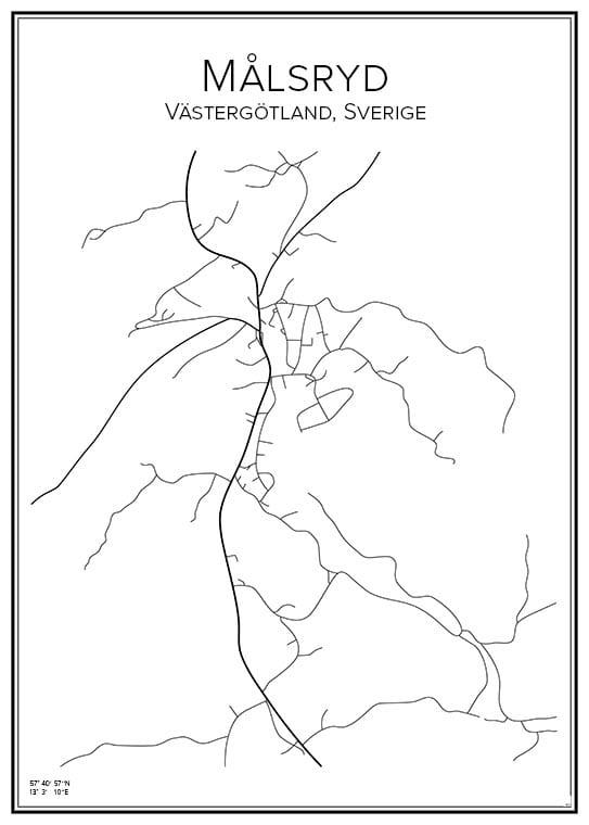 Stadskarta över Målsryd
