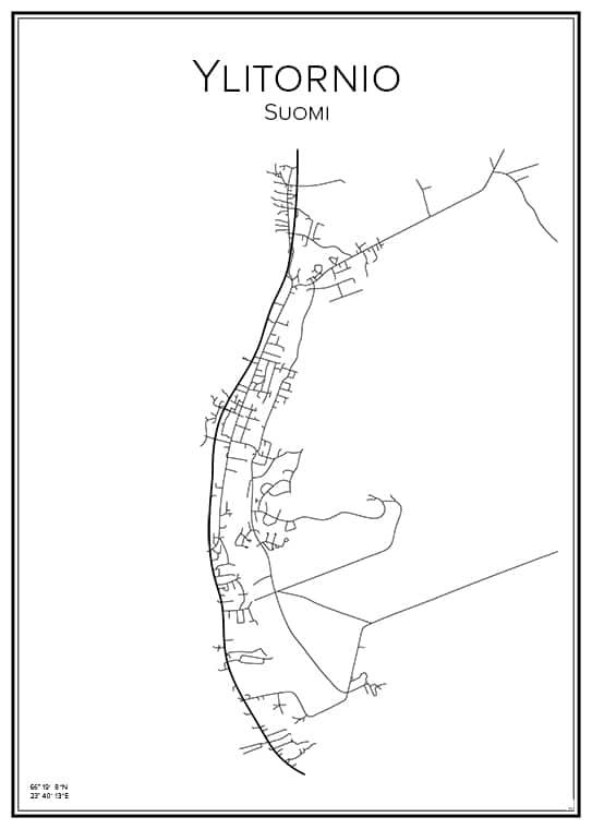 Stadskarta över Ylitornio