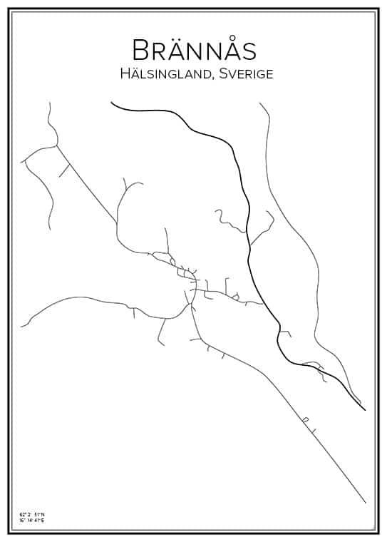 Stadskarta över Brännås