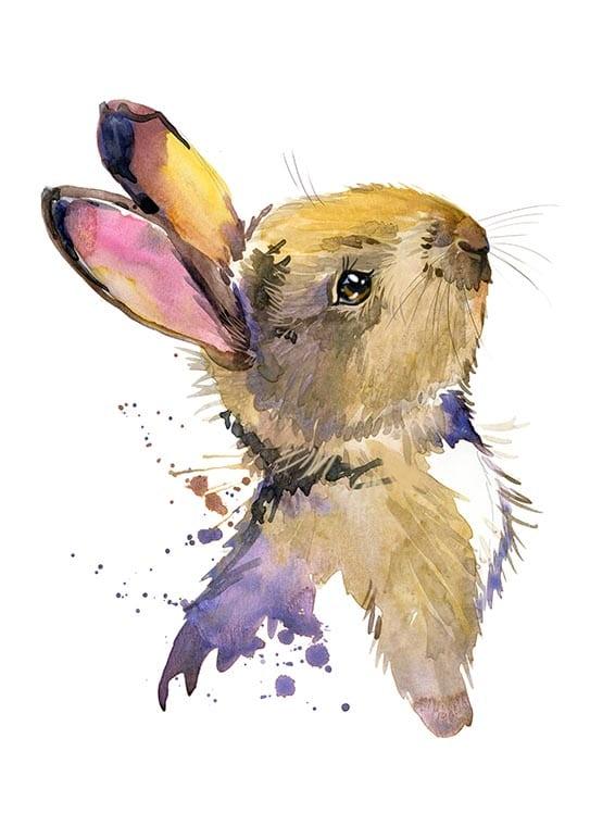 Affisch med en söt kanin, perfekt till ett barnrum