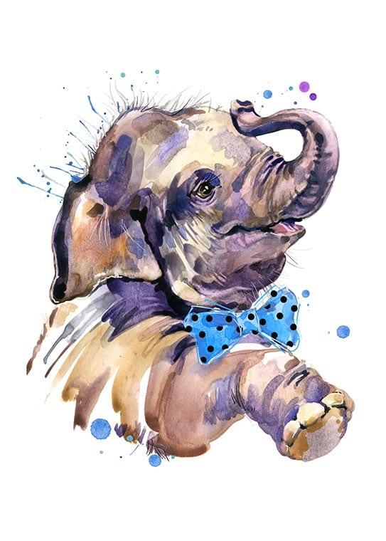 Affisch med en elefant, perfekt till ett barnrum