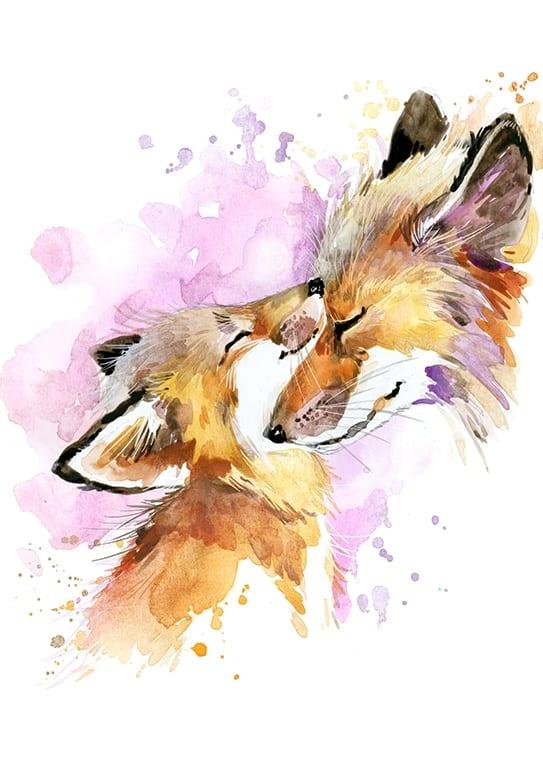 Affisch med två rävar, perfekt till ett barnrum
