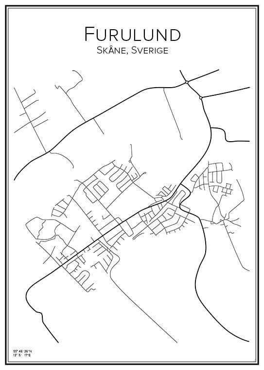 Stadskarta över Furulund
