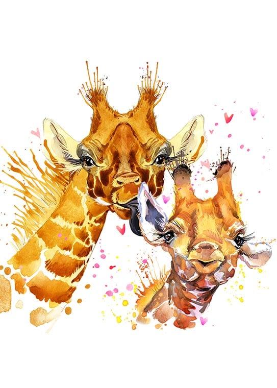 Affisch med två jättesöta giraffer, perfekt till ett barnrum