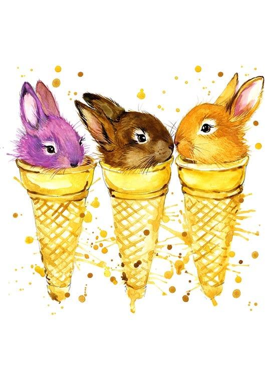 Affisch med tre söta kaniner, perfekt till ett barnrum