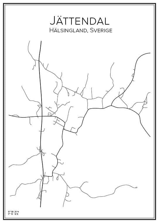 Stadskarta över Jättendal