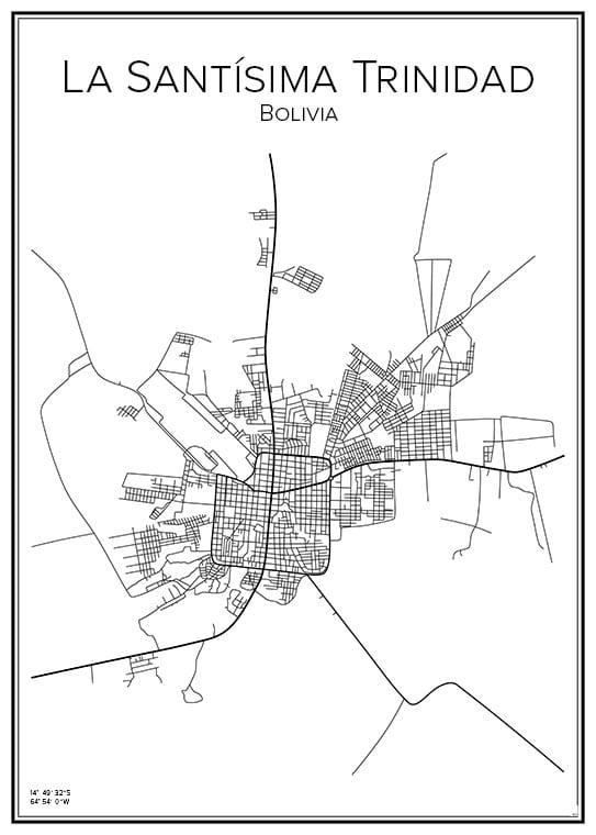 Stadskarta över La Santísima Trinidad