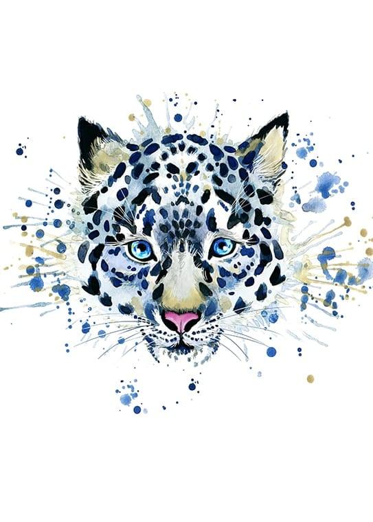Affisch med en svartvit leopard, perfekt till ett barnrum