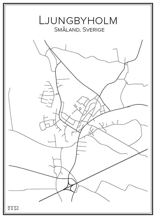 Stadskarta över Ljungbyholm
