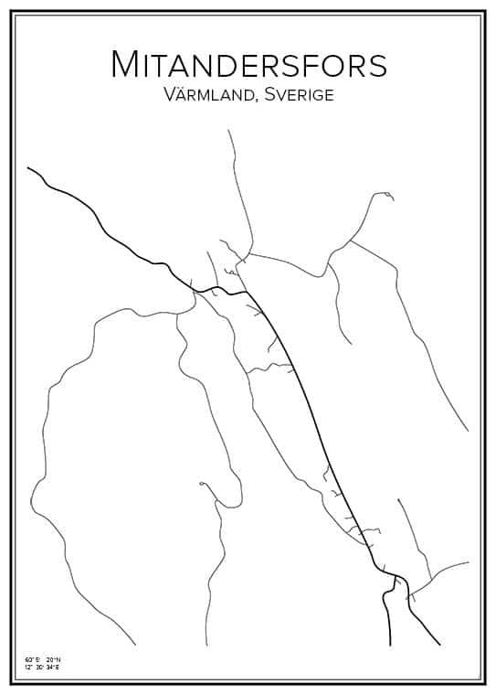 Stadskarta över Mitandersfors